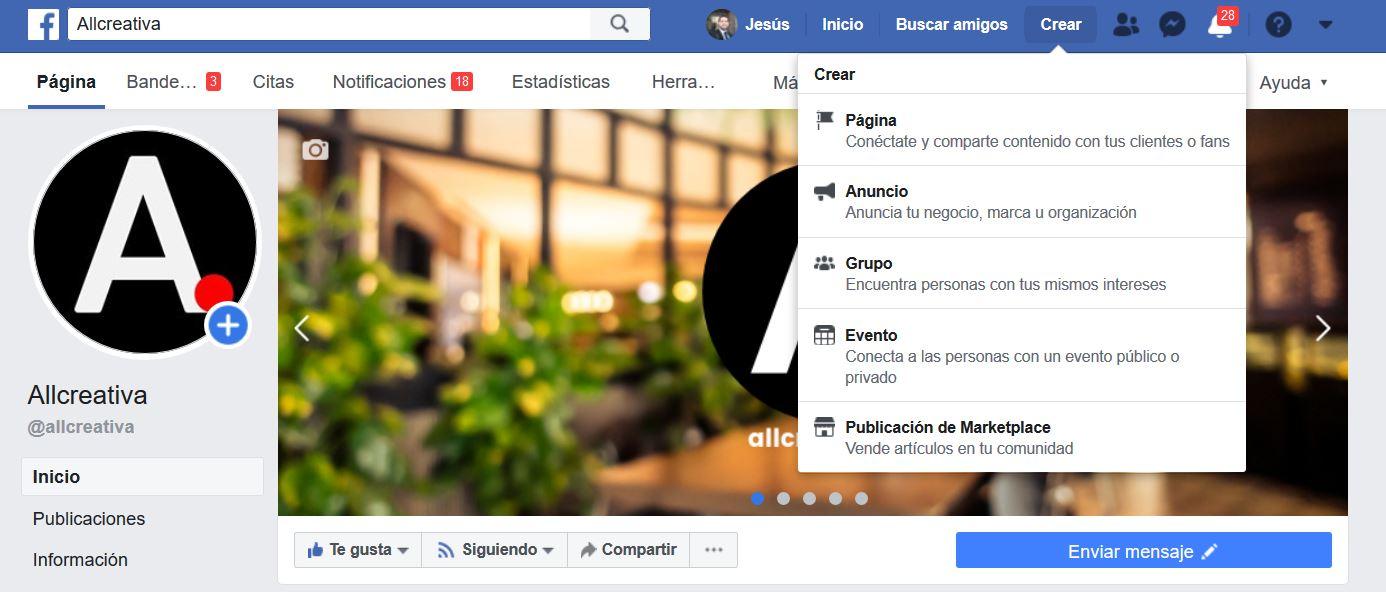 crear una página en Facebook paso 1