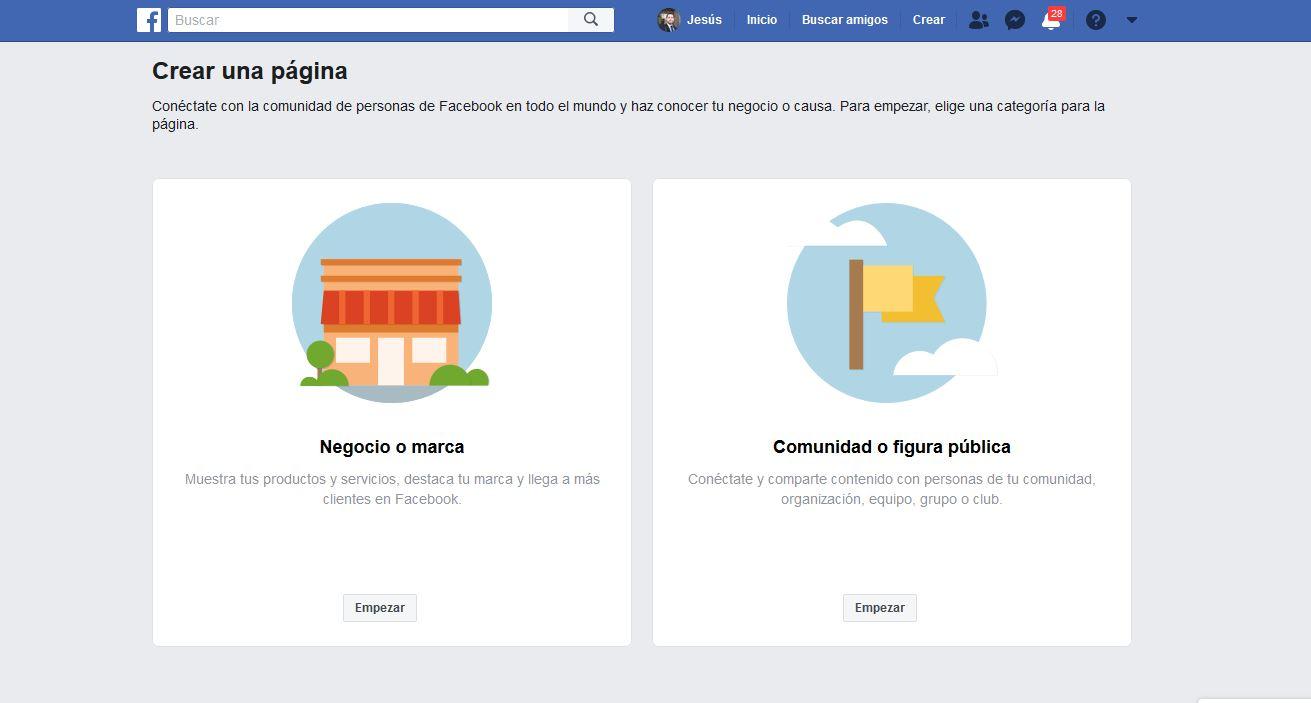 crear una página en Facebook paso 2
