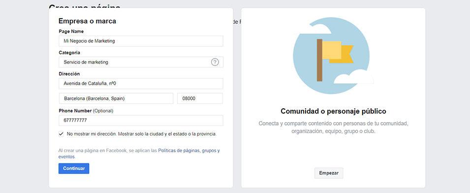 crear una página en Facebook paso 3